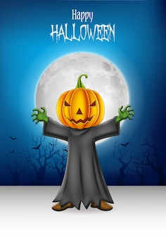 Karikaturkind, das halloween-kürbiskostüm trägt