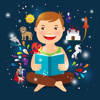 Karikaturkind, das märchenbuch liest. fröhlicher junge mit einer offenen buchillustration