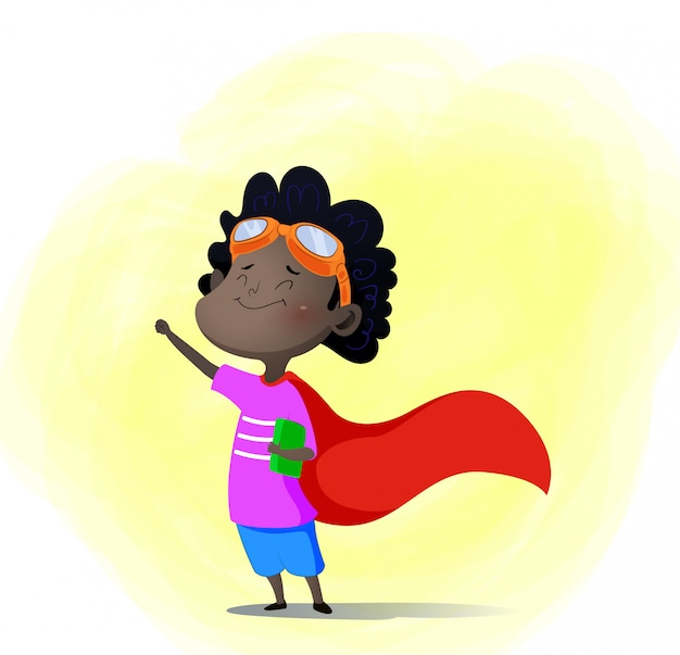 Karikaturkind, das superhelden mit buch herein spielt