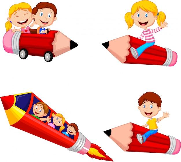 Karikaturkinder, die bleistift reiten, spielt sammlungssatz