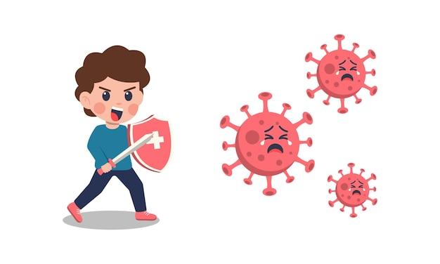 Karikaturkinder, die das koronavirus bekämpfen.