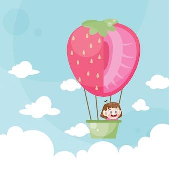 Karikaturkinder, die eine heißluftballonerdbeere reiten