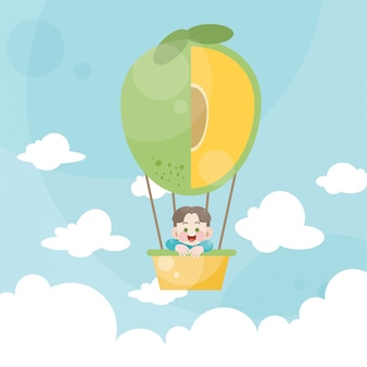 Karikaturkinder, die eine heißluftballonmango reiten