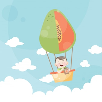 Karikaturkinder, die eine heißluftballonpapaya reiten