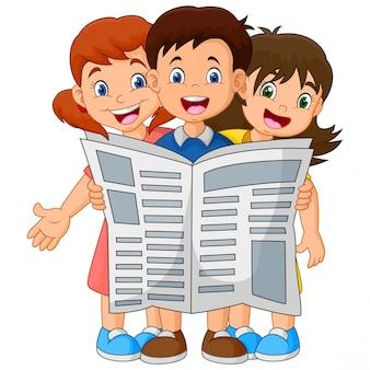 Karikaturkinder, die eine zeitung lesen