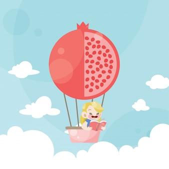 Karikaturkinder, die einen heißluftballongranatapfel reiten