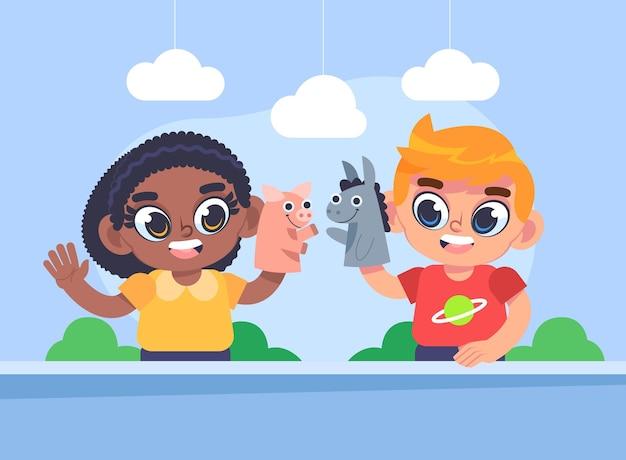 Karikaturkinder, die mit handpuppen zusammen spielen