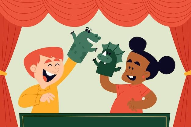 Karikaturkinder, die mit illustrierten handpuppen spielen