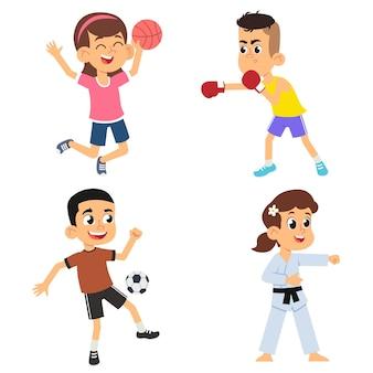 Karikaturkinder, die sport spielen. jungen fußball und boxen, mädchen volleyball und karate. illustration