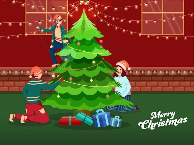 Karikaturkinder verziert weihnachtsbaum mit lichtgirlande auf rotem und grünem hintergrund für frohe weihnachten.