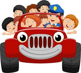 Karikaturkleinkind glücklich mit rotem Auto