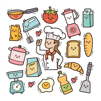 Karikaturkoch mit küchenutensilien kawaii gekritzelillustration