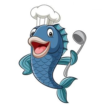 Karikaturkochfisch, der eine suppenkelle hält