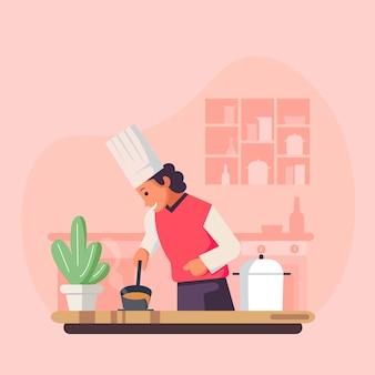 Karikaturkochkochillustration, restaurantkochkoch, der hut und uniform trägt.