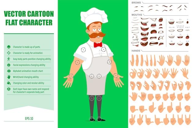 Karikaturkochkochmanncharakter in weißer uniform und bäckerhut