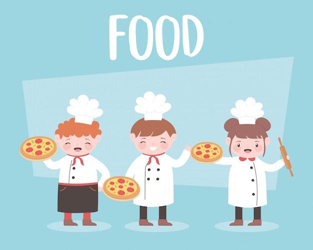 Karikaturköche, die pizza essen und halten