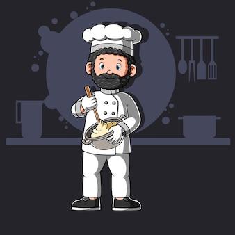 Karikaturköche kochen