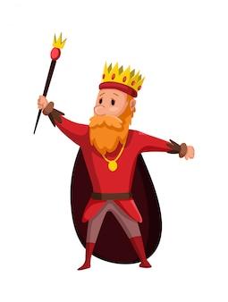 Karikaturkönig, der krone und mantel trägt. karikaturkönig, der ein goldenes zepter hält. farbabbildung
