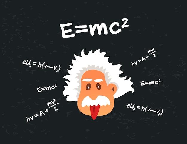 Karikaturkopf des wissenschaftlers zunge zeigend