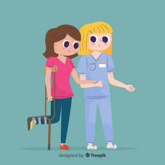 Karikaturkrankenschwester, die um patienten sich kümmert
