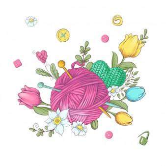 Karikaturkranz von gestrickten elementen und von zubehör und von frühlingsblumen. handzeichnung. illustration