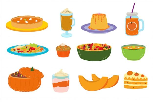 Karikaturkürbisfutter, nachtisch, illustration, satz aufkleber auf weißem, köstlichem kürbismehl und getränken. Premium Vektoren