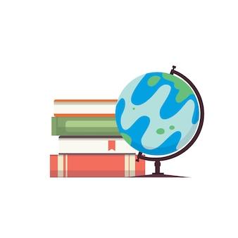 Karikaturkugelillustration. weltkarte auf globus mit büchern isoliert auf weißem hintergrund