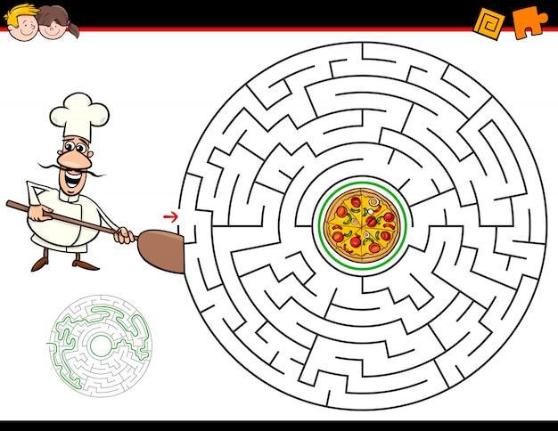 Karikaturlabyrinthspiel mit chef und pizza