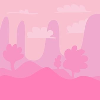 Karikaturlandschaft für spieldesign, weicher naturhintergrund - rosa berge