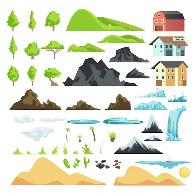 Karikaturlandschaftsvektorelemente mit bergen, hügeln, tropischen bäumen und gebäuden