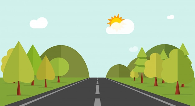 Karikaturlandstraßenstraße über grünen waldhügeln oder naturlandschaftsvektorillustration