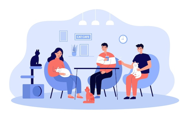 Karikaturleute an der flachen illustration des katzencafés