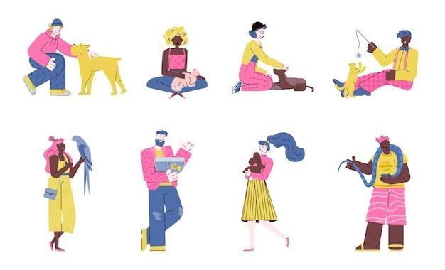 Karikaturleute, die haustier-tiere lokalisierten satz von männern und frauen mit haustieren halten