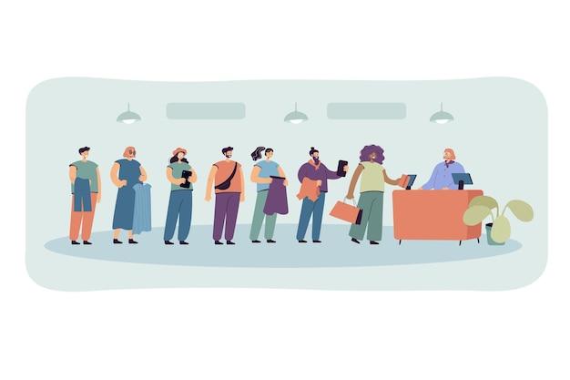 Karikaturleute, die in der flachen illustration der warteschlange stehen. männer und frauen warten im bekleidungsgeschäft vor dem kassenschalter und dem verkäufer