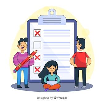 Karikaturleute, die riesigen checklistenhintergrund überprüfen