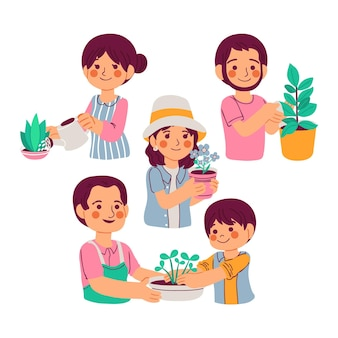 Karikaturleute, die sich um pflanzen kümmern