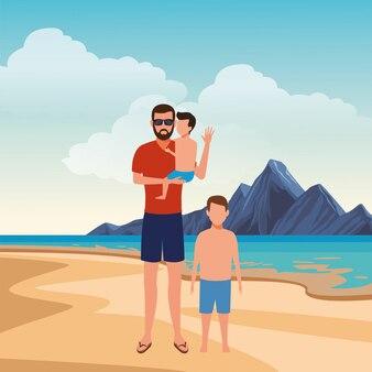Karikaturleute in den sommerferien
