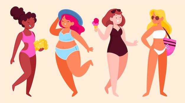 Karikaturleute mit sommerkleidungspaket