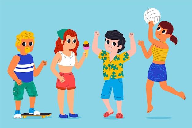 Karikaturleute mit sommerkleidungssammlung