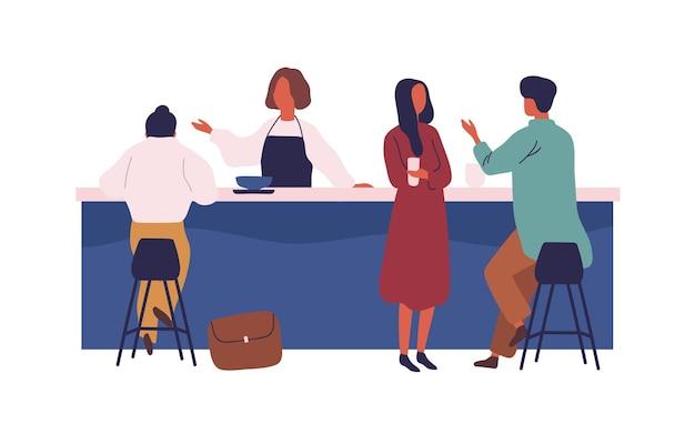 Karikaturleute verbringen zeit im café auf der flachen vektorgrafik des barvektors. bunter mann und frau essen getränk und kommunizieren in der cafeteria, isoliert auf weiss. weibliches kellnerpersonal steht am schalter.