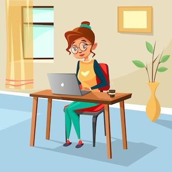 Karikaturmädchen, das am gemütlichen arbeitsplatzschreibtisch schreibt laptop sitzt.