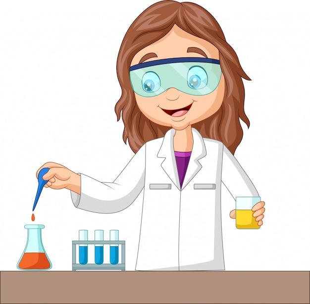 Karikaturmädchen, das chemisches experiment tut