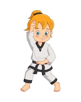 Karikaturmädchen, das karate übt