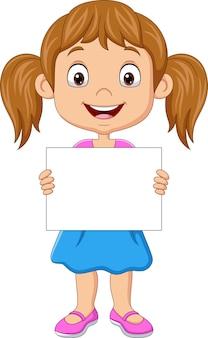 Karikaturmädchen, das leeres papier hält