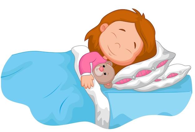 Karikaturmädchen, das mit angefülltem bären schläft