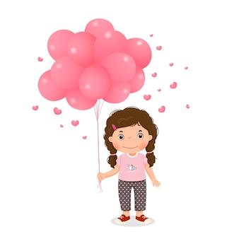 Karikaturmädchen, das rosa luftballons hält