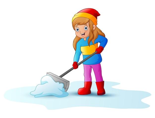 Karikaturmädchen, das schnee mit einer schaufel reinigt