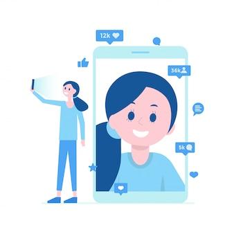Karikaturmädchen, das selfie auf smartphone, videoanruf, lebenübersetzung nimmt. sozialen medien