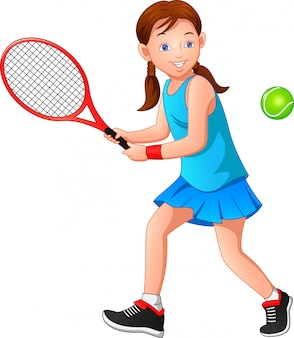 Karikaturmädchen, das tennis spielt