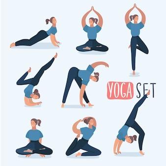 Karikaturmädchen in den yoga-posen mit titeln für anfänger lokalisiert auf weißem hintergrund. yoga stellt infografik-elemente mit bildunterschriften auf.